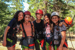 Campers in Harnesses and Helmets Ropes Course